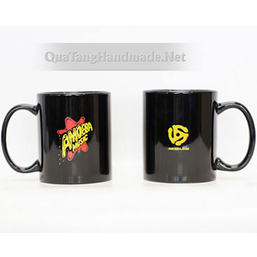 cốc sứ màu đen in hình ảnh, logo, chữ