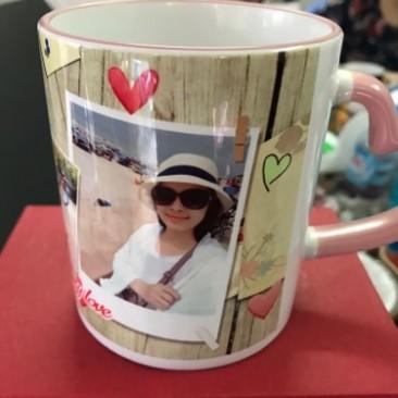 In cốc quai tim viền màu ở Hà Nội
